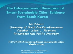The Entrepreneurial Dimension of Smart Sustainable Cities Evidence