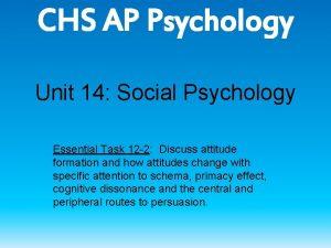 CHS AP Psychology Unit 14 Social Psychology Essential
