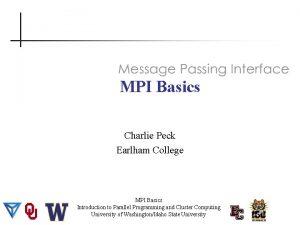 MPI Basics Charlie Peck Earlham College MPI Basics