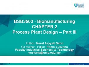 BSB 3503 Biomanufacturing CHAPTER 2 Process Plant Design