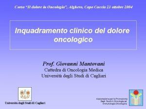 Corso Il dolore in Oncologia Alghero Capo Caccia