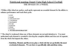 Nutritional meeting Desert Vista High School Football THE