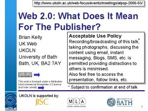 http www ukoln ac ukwebfocuseventsmeetingsalpsp2006 03 Web 2