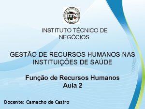 INSTITUTO TCNICO DE NEGCIOS GESTO DE RECURSOS HUMANOS