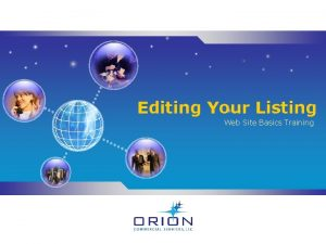 Editing Your Listing Web Site Basics Training Editing