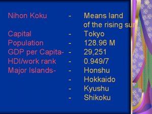 Nihon Koku Capital Population GDP per Capita HDIwork