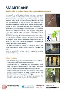 SMARTCANE An Affordable Knee above Obstacle Detection and