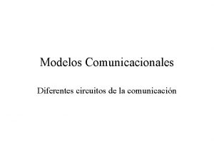Modelos Comunicacionales Diferentes circuitos de la comunicacin Modelo
