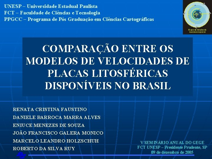 UNESP Universidade Estadual Paulista FCT Faculdade de Cincias