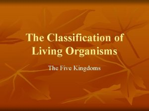 The Classification of Living Organisms The Five Kingdoms