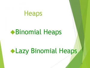 Heaps Binomial Lazy Heaps Binomial Heaps 1 Heaps