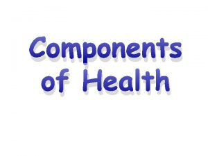 Components of Health Learning Objectives Know the definitions