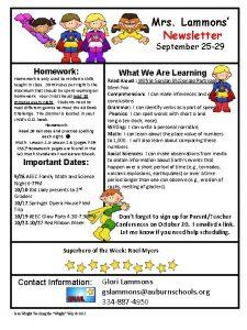 Mrs Lammons Newsletter September 25 29 Homework Homework