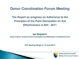 Donor Coordination Forum Meeting The Report on progress