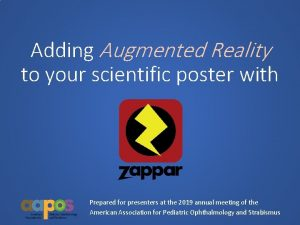 Adding Augmented Reality to your scientific poster with