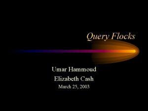 Query Flocks Umar Hammoud Elizabeth Cash March 25