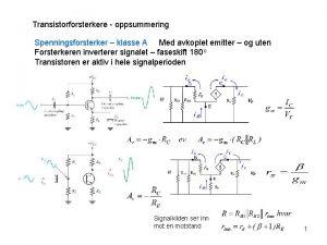 Transistorforsterkere oppsummering Spenningsforsterker klasse A Med avkoplet emitter