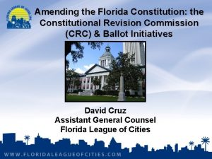 Amending the Florida Constitution the Constitutional Revision Commission