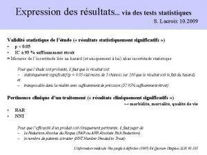 Expression des rsultats via des tests statistiques S