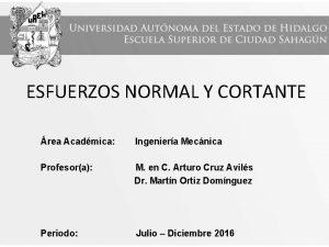 ESFUERZOS NORMAL Y CORTANTE rea Acadmica Ingeniera Mecnica