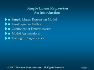 Simple Linear Regression An Introduction n n Simple