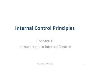Internal Control Principles Chapter 1 Introduction to Internal