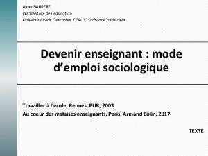 Anne BARRERE PU Sciences de lducation Universit Paris