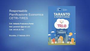 Responsabile Pianificazione Economica CETRITIRES Dott Antonio Francesco Parisi