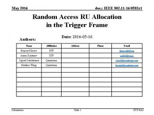 May 2016 doc IEEE 802 11 160582 r