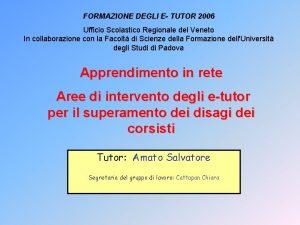 FORMAZIONE DEGLI E TUTOR 2006 Ufficio Scolastico Regionale
