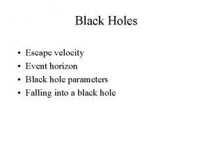 Black Holes Escape velocity Event horizon Black hole