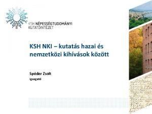 KSH NKI kutats hazai s nemzetkzi kihvsok kztt