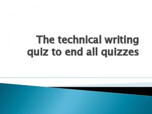The technical writing quiz to end all quizzes