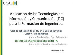 Aplicacin de las Tecnologas de Informacin y Comunicacin