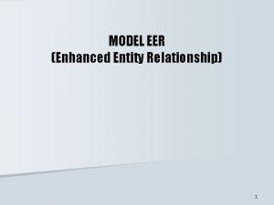 MODEL EER Enhanced Entity Relationship 1 KONSEP MODEL