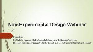 NonExperimental Design Webinar 1 Presenters Dr Michelle Susberry