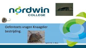 Oefentoets vragen Knaagdier bestrijding April 2014 E Blom