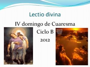 Lectio divina IV domingo de Cuaresma Ciclo B