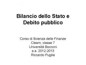 Bilancio dello Stato e Debito pubblico Corso di