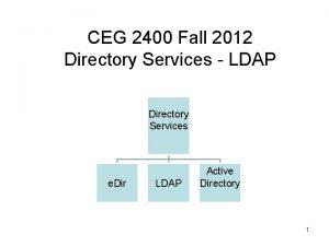 CEG 2400 Fall 2012 Directory Services LDAP Directory