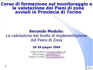 Corso di formazione sul monitoraggio e la valutazione