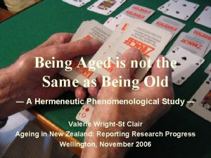 Being Aged is not the Same as Being