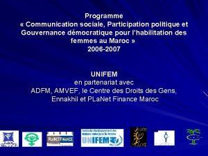 Programme Communication sociale Participation politique et Gouvernance dmocratique