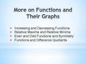 Increasing and Decreasing Functions Relative Maxima and Relative