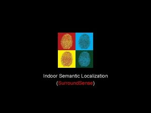 Indoor Semantic Localization Surround Sense 1 Many emerging