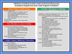 USDA4 H and Boys Girls Clubs of America