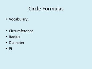 Circle Formulas Vocabulary Circumference Radius Diameter Pi Circle