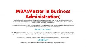 MBAMaster in Business Administration Business education is beyond