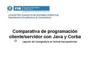 CONCEPTES AVANATS DE SISTEMES OPERATIUS Departament dArquitectura de