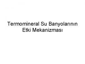 Termomineral Su Banyolarnn Etki Mekanizmas zel Etkiler 1